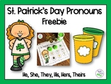 St. Patrick's Day Pronouns Freebie for Speech Therapy