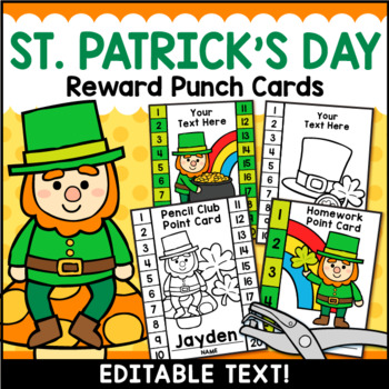 St. Patrick's Day Punch Cards Editable Classroom Management FREEBIE!