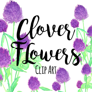 St. Patrick's Day Purple Clover Floral Flowers Clipart