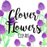St. Patrick's Day Purple Clover Floral Flowers Clipart