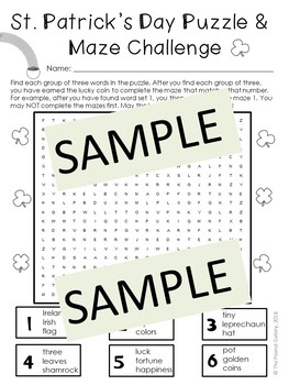 St. Patrick's Day Puzzle and Maze Challenge