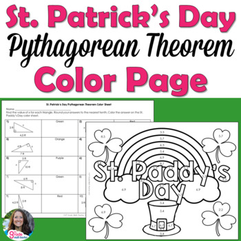 St. Patrick's Day Pythagorean Theorem Color Page Activity