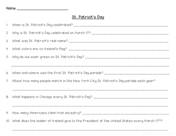 St. Patrick's Day Research and History
