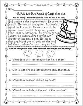 St. Patrick's Day Reading Comprehension and Activity Packet