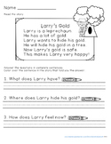 St. Patrick's Day Reading Comprehension FREEBIE