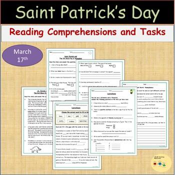 St Patrick's Day Reading Comprehension -Myths/Leprechaun, Homonyms, Writing