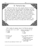 St. Patrick's Day Reading Comprehension Passage and Questions