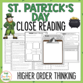 St. Patrick's Day Close Reading Comprehension Passages and