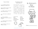 St. Patrick's Day Reading Comprehension TriFold
