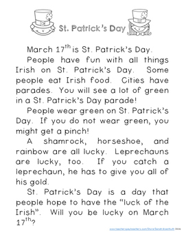 St. Patrick's Day Reading Comprehension with Writing Extension First Grade