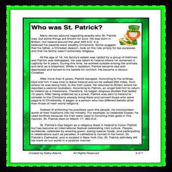 St. Patrick's Day Reading Low Prep