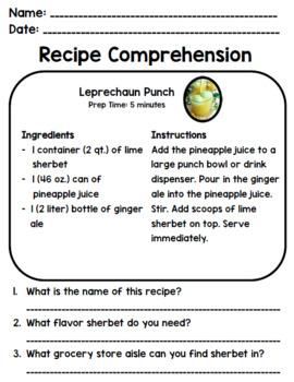 St. Patrick's Day Recipe Comprehension - Life Skills Reading + Writing