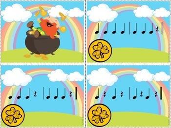 St Patrick's Day Music Game - Rhythms: Ta, Ti Ti, Rest - Grab the Gold