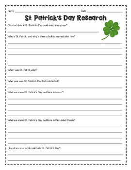 St. Patrick's Day Research Questions - March Holiday Study