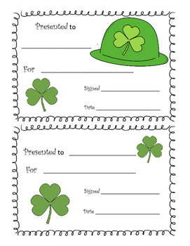 St. Patrick's Day Reward Certificates