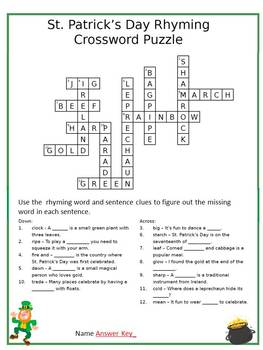 St. Patrick's Day Rhyme St. Patrick's Day Grammar Patrick's Day Crossword Puzzle