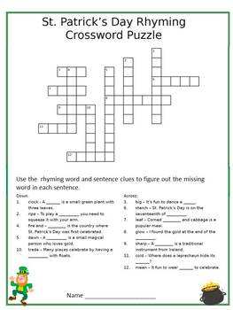 photo relating to St Patrick's Day Crossword Puzzle Printable called St. Patricks Working day Rhyme St. Patricks Working day Grammar Patricks Working day Crossword Puzzle