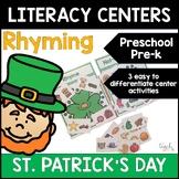 "St. Patrick""s Day Rhyming Centers for Preschool, PreK, K &"
