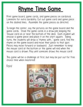 "St. Patrick""s Day Rhyming Centers for Preschool, PreK, K & Homeschool"
