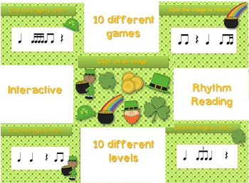 St. Patrick's Day Rhythm Reading Practice Interactive Game--BUNDLE