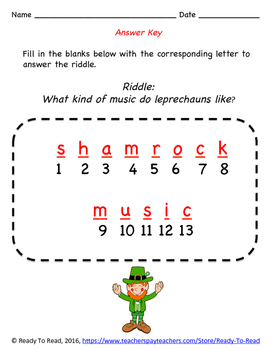 St. Patrick's Day Riddle: Dolch Pre-Primer Sight Word Spelling Practice