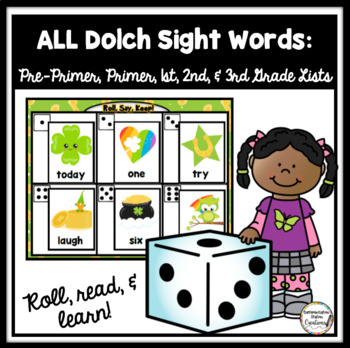 St. Patrick's Day Roll, Say, Keep: Editable, Alphabet, and Dolch Sight Words