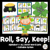 St. Patrick's Day Roll, Say, Keep: Editable, Alphabet, and