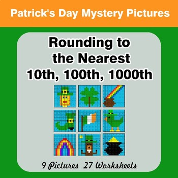 St. Patrick's Day: Rounding to the nearest 10th, 100th, 1000th | Color by Code