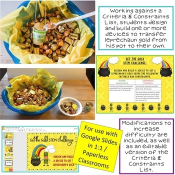 St. Patrick's Day STEM Challenge: Get the Gold 1:1 Paperless Version