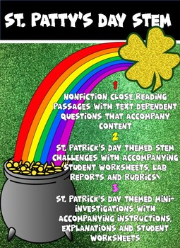 St. Patrick's Day STEM challenges and Close Reading w/ text dependent Questions