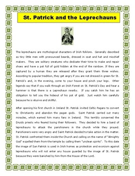St. Patrick's Day- Saint Patrick and The Leprechauns- Reading Comprehension