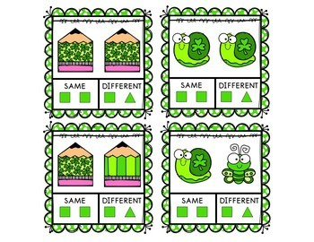 St. Patrick's Day Same and Different Clip Cards