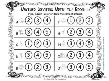 St. Patrick's Day Scatter Counting to 5: Write the Room