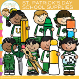 Kids School Supplies for Saint Patrick's Day Clip Art