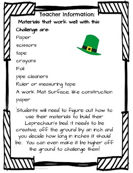 St. Patrick's Day Science STEM Build a Leprechaun a Bed!