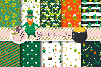 St. Patrick's Day Seamless Pattern Set. Digital paper pack.