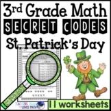 St. Patrick's Day Secret Code Math Worksheets 3rd Grade