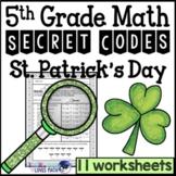 St. Patrick's Day Secret Code Math Worksheets 5th Grade