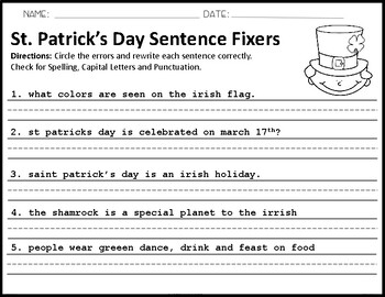 St. Patrick's Day Sentence Fixers