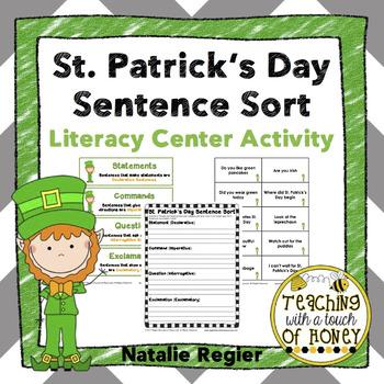 St. Patrick's Day | Writing Center Activity | Literacy Centers | Sentence Sort