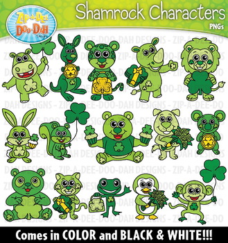 St. Patrick's Day Shamrock Characters Clipart {Zip-A-Dee-Doo-Dah Designs}