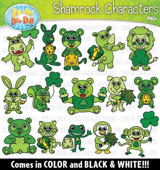St. Patrick's Day Shamrock Characters Clipart {Zip-A-Dee-Doo-Dah Designs}