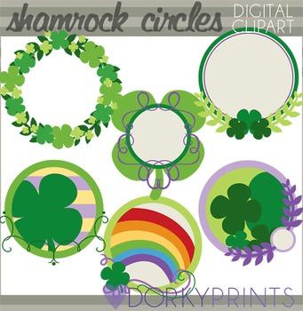 St Patrick's Day Shamrock Circles Clip Art