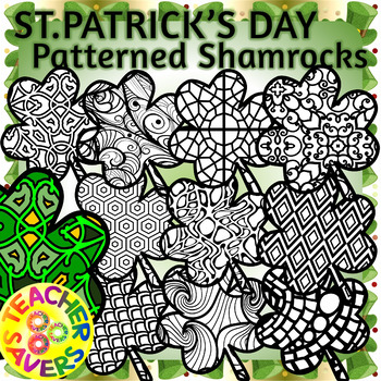 St. Patrick's Day Shamrock Coloring Clip Art Set Commercial and Personal Use