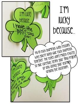 St. Patrick's Day Shamrock Craftivity - I'm LUCKY Because...
