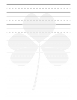 St. Patrick's Day Shamrock Primary Lined Paper