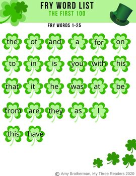 St Patrick's Day Shamrock Sight Words - Fry's 1000 words