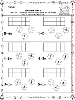 St. Patrick's Day Shamrock Subtraction with 10 frames