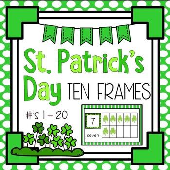 St. Patrick's Day Shamrock Ten Frames 1 - 20 - Half Page C