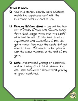 St. Patrick's Day Shamrock Uppercase and Lowercase Matching Game